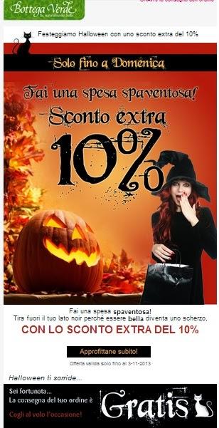 Bottega Verde - Sconto 10% per Halloween 2013 e spedizioni gratuite