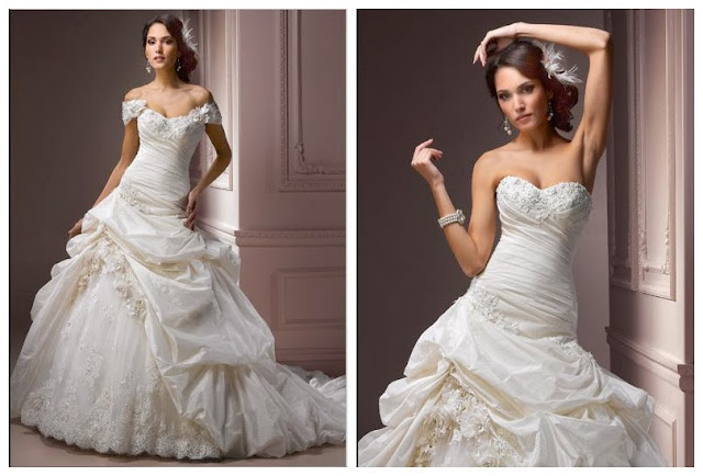 Taffeta Strapless Sweetheart Neckline Detachable Cap Sleeves A-line Wedding Dress