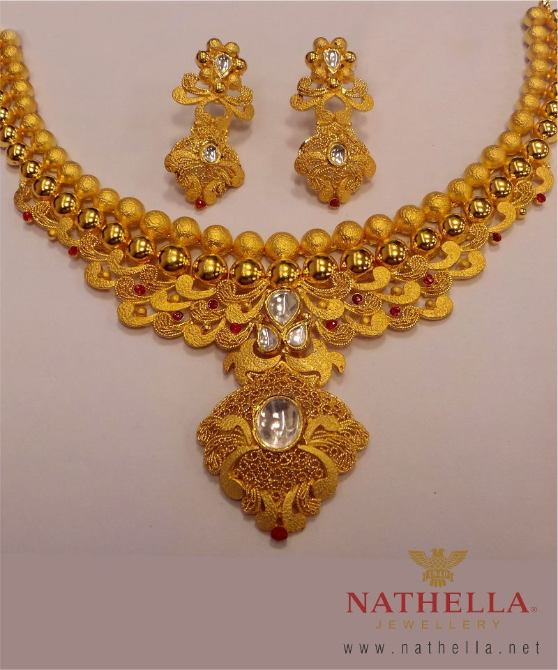 Nathella s Gold Set with Kundan Work Jewellery Designs