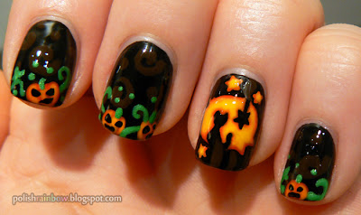 This Is Halloween Nail Art Challenge 2012. Jack-O-Lantern nails.