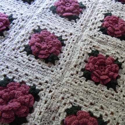 Crochet Rose Granny Square Afghan - Free Pattern