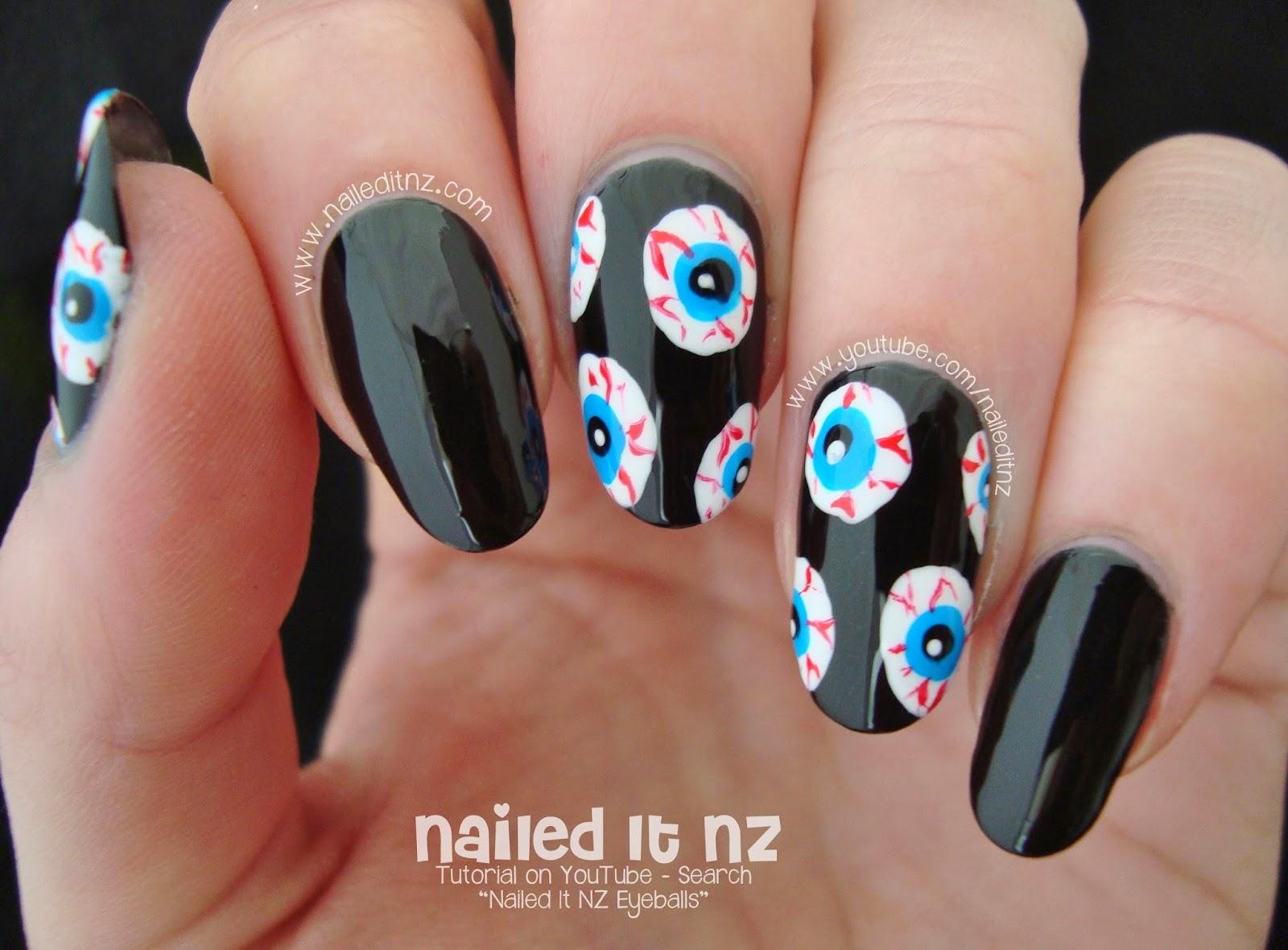 Bloodshot Eyeballs   Halloween Nail Art