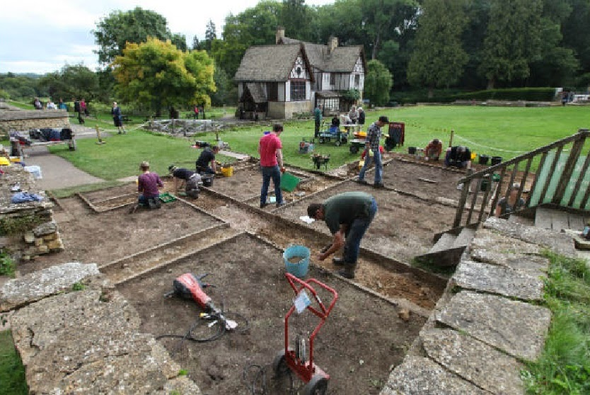 Roman mosaic uncovered at Chedworth Roman Villa
