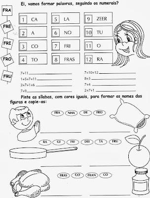formar palavras, Atividades com FR. anos iniciais,alfabetização, 1º ano, ensino fundamental,alfabeto, atividades para imprimir