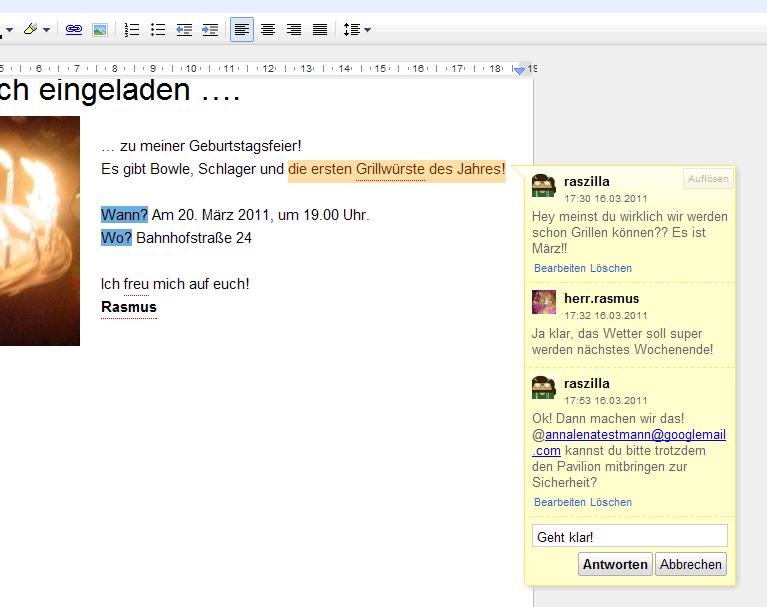 Beispiel Diskussionen in Google Docs Text & Tabellen