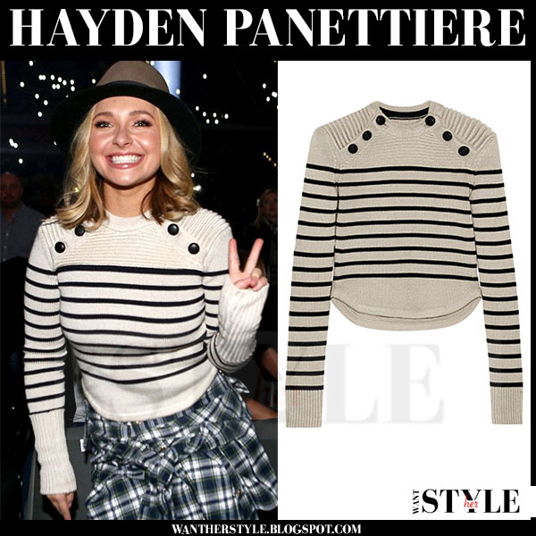 Hayden Panettiere in cream striped knit isabel marant hatfield sweater what she wore