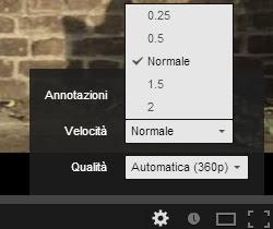 cambio velocità su youtube