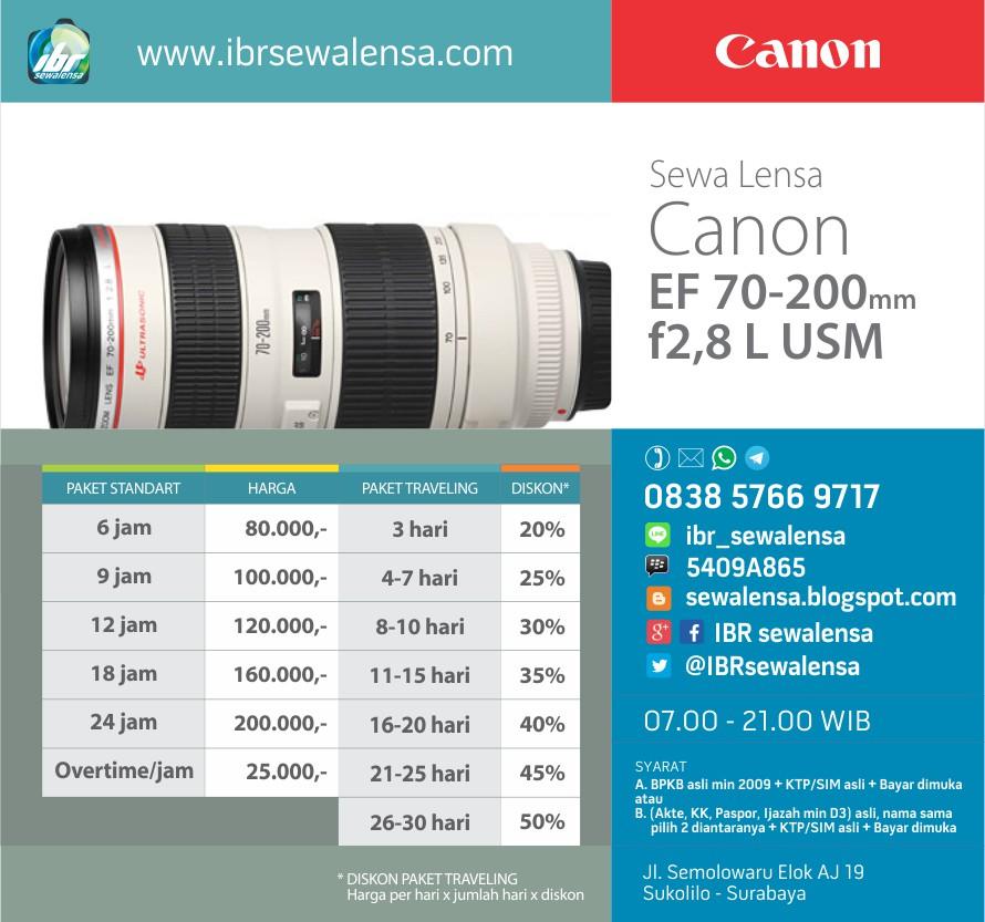 Harga sewa lensa Canon 70-200 mm F2.8 L USM