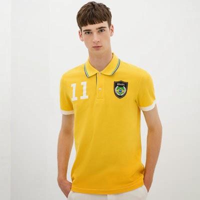 camisas polo com bandeiras dos países da Zara para a Copa do Mundo Brasil 2014