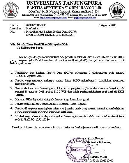 Daftar Peserta PLPG 2013 Gelombang 1 Rayon 120 UNTAN