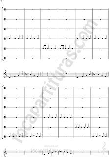 2 El Ritmo de la Noche Partitura de Flauta/ Guitarra y Percusión con Sonidos (Ronquidos, estornudos, silencio, panaderos, barrenderos y basureros)
