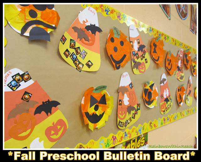 photo of: Fall Bulletin Board for Halloween w Jack-o-Lanterns and Candy Corn (Fall RoundUP via RainbowsWithinReach)