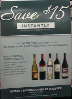 Wine promotion: save $15 when you buy 6 bottles of wine at Costco