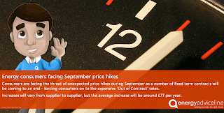 Energy consumers facing September price hikes