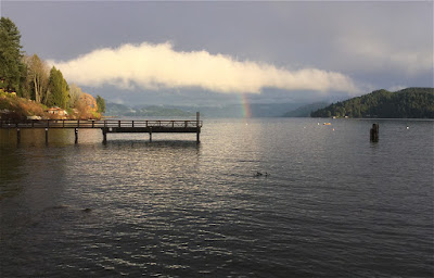 Rainbow over the Pacific Ocean, Gibsons, BC, Canada