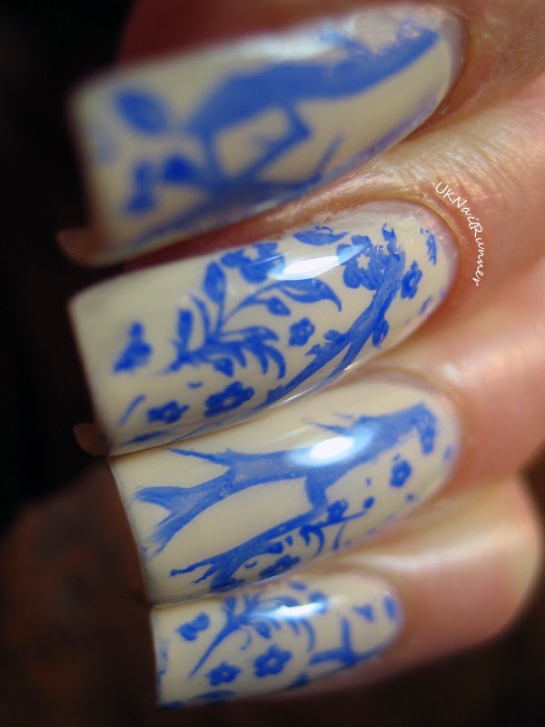 Nails Inc Baker Street stamping with MoYou plates Artist 5 and Suki 10