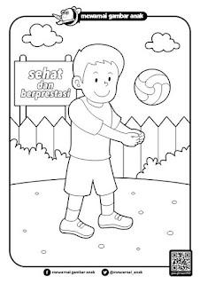 anak bermain bola voli