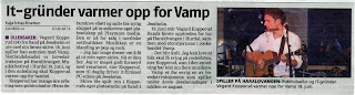 IT-grnder varmer opp for Vamp Vegard Kopperud fra Rholt er ute med sin frste skive. 18. juni spiller han sammen med Vamp. Skiva &#8221;Stt og Salt&#8221; ble nylig sluppet p Kopperuds eget plateselskap p Playmore Media. Den er tilgjengelig i samtlige nettbutikker i Norden. Musikken er en blanding av pop og rock. - Jeg har lenge drmt om  f gi ut min egen skive. N er den her. Jeg er meget godt fornyd med resultatet, sier Kopperud, som til daglig driver IT-firmaet pc-utleie.no p Jessheim. Skiva ble spilt inn i Kopperuds eget platestudio p Sand. 18. juni str Vegard Kopperud Bands frste opptreden for tur p Haraldvangen i Hurdal. Dit kommer ogs rockebandet Vamp. - Det blir kult. Jeg kan love at folk skal f sving p rockefoten, sier Kopperud
