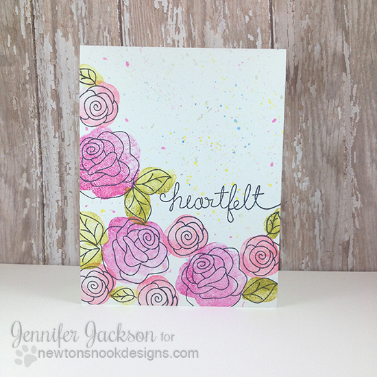 Heartfelt Floral one layer card by Jennifer Jackson | Love Grows Stamp set by Newton's Nook Designs