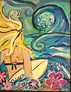 Lauren Harmon from Lauren Paints: original surfer beach art painting - SOLD