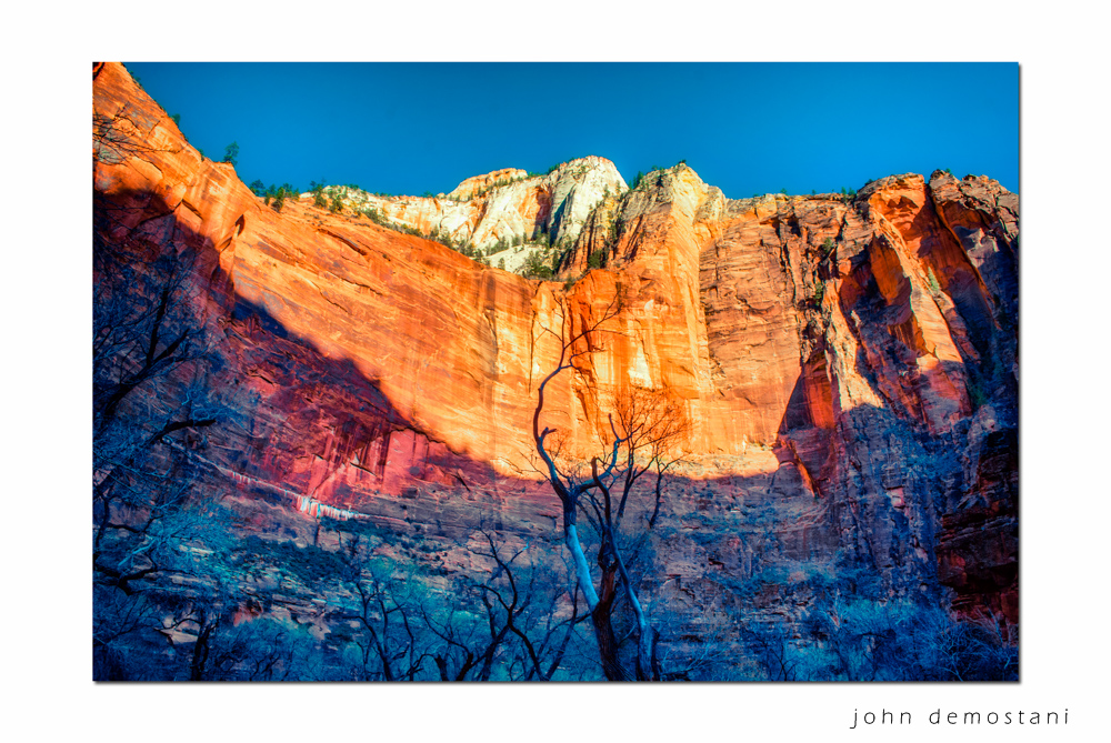 Zion National Park, Landscape Photography, Mountains, rocks, rugged terrain, sunset, colorful geological features, golden rocky mountains,trees at sunset, colors of the rainbow