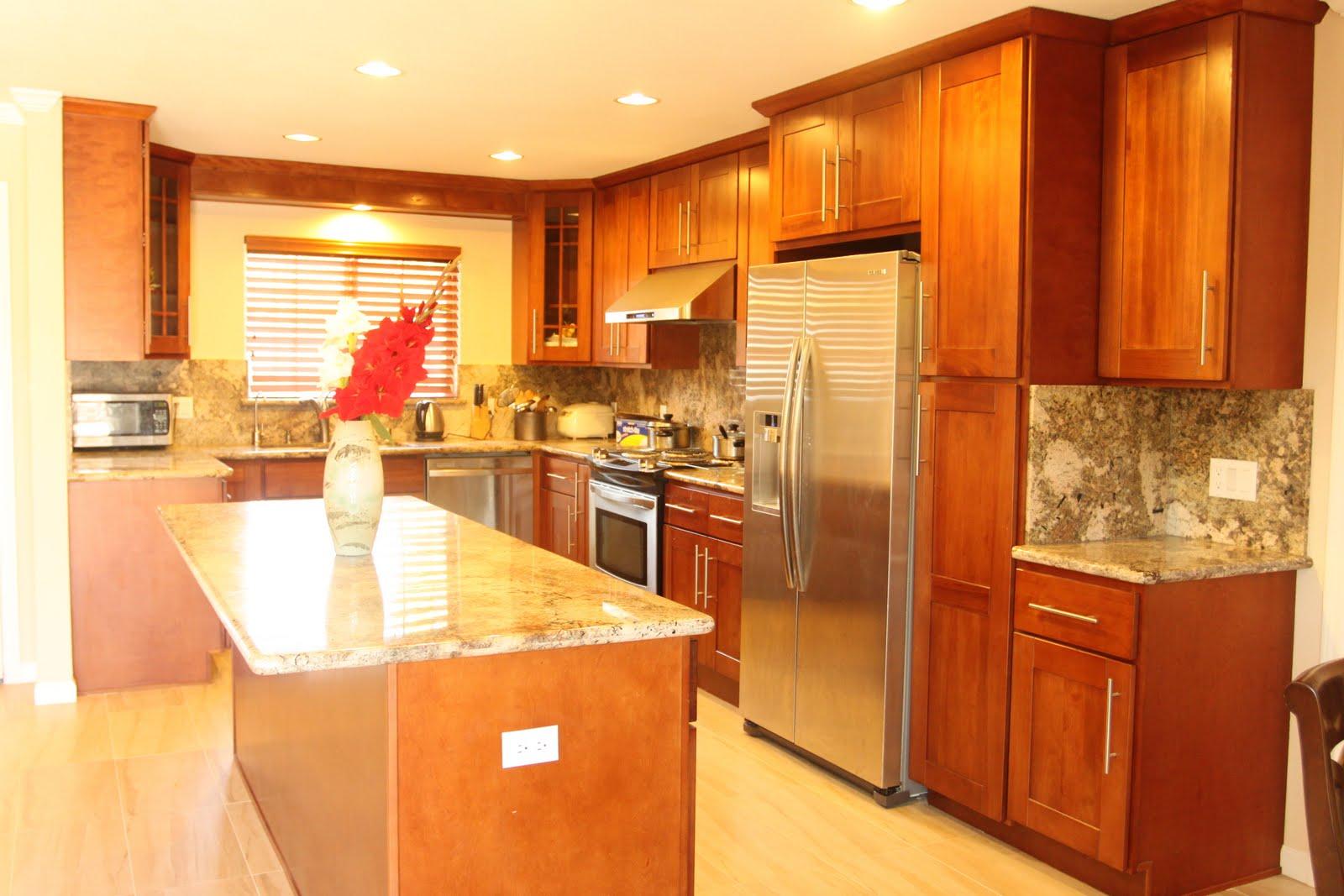 Cherry Shaker Kitchen Cabinets, Juperano Bruzio Granite Counter Top