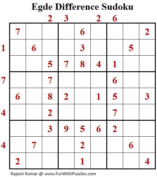 Edge Difference Sudoku (Fun With Sudoku #150)