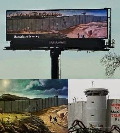 West Bank Wall and holy family in Atlanta Banksy billboard