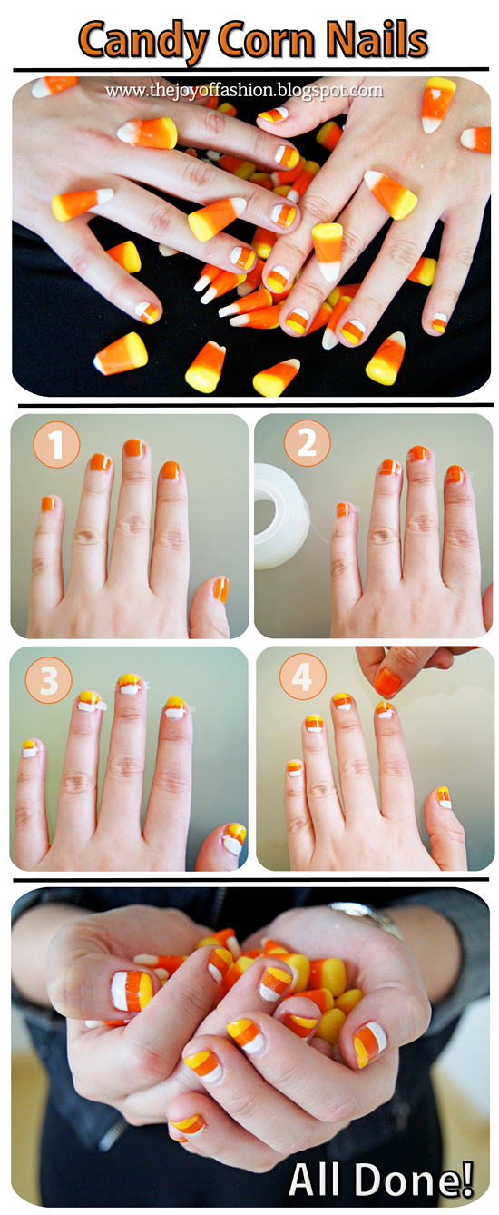 These candy corn nails are SO cute and perfect for Fall! Click through for full tutorial