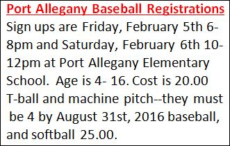 2-5/6 Port Allegany Baseball Signups