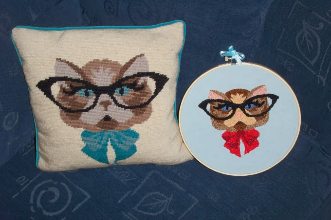 Louche, Louche cat with glasses, pillow, cross stitch, handmade, hand embroidered, kitty eyeglasses, hand stitched, Modcloth, A Coin For the Well