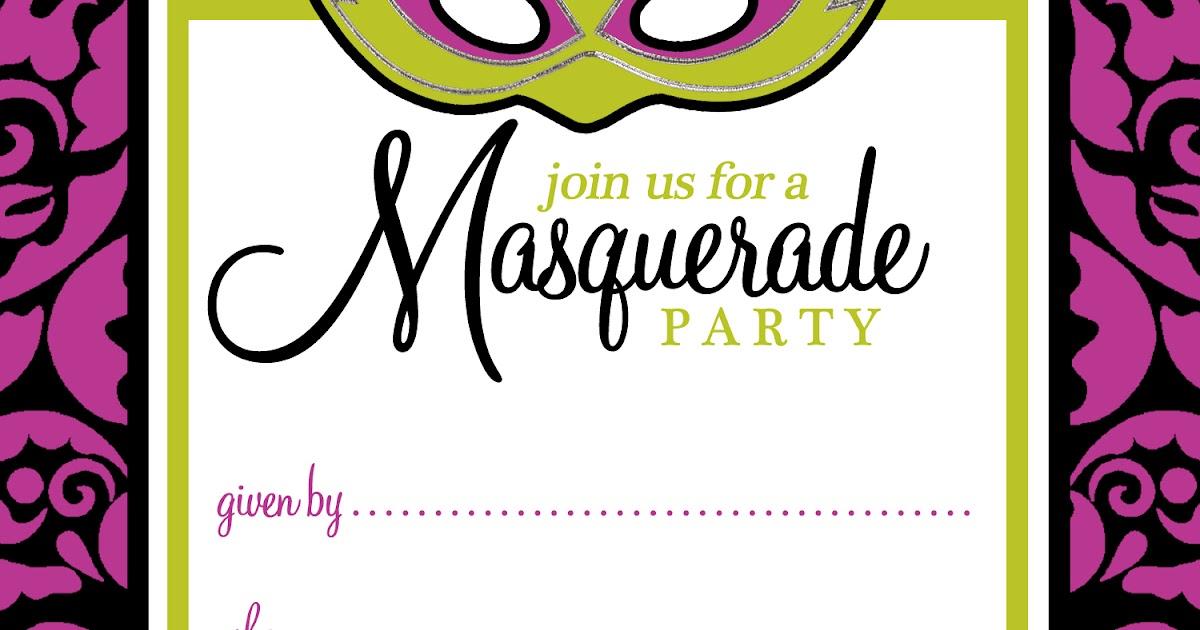 free printable party invitations  masquerade or mardi gras