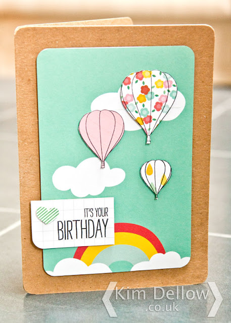 A Hot air balloon card using journaling cards