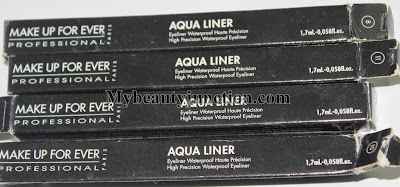 MUFE Aqua eye Liner swatches, review, dupes, photos