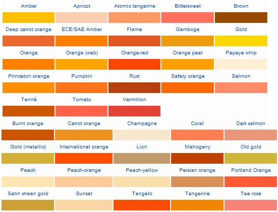 list of shades of orange c olors dark brown hairs
