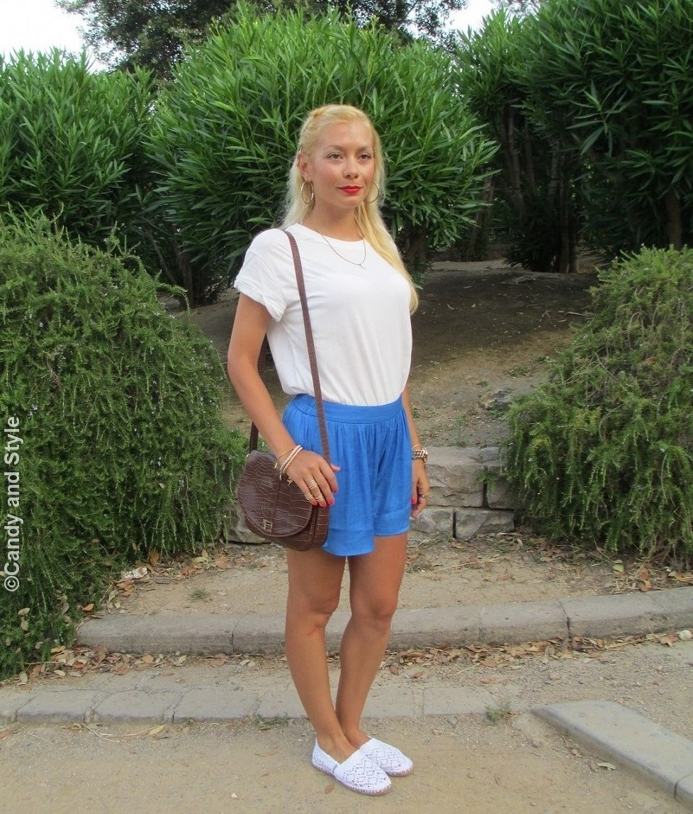 White Shirt, Pale Blue Shorts, Lace Espadrilles, Croc Bag - Lilli Candy and Style Fashion Blog