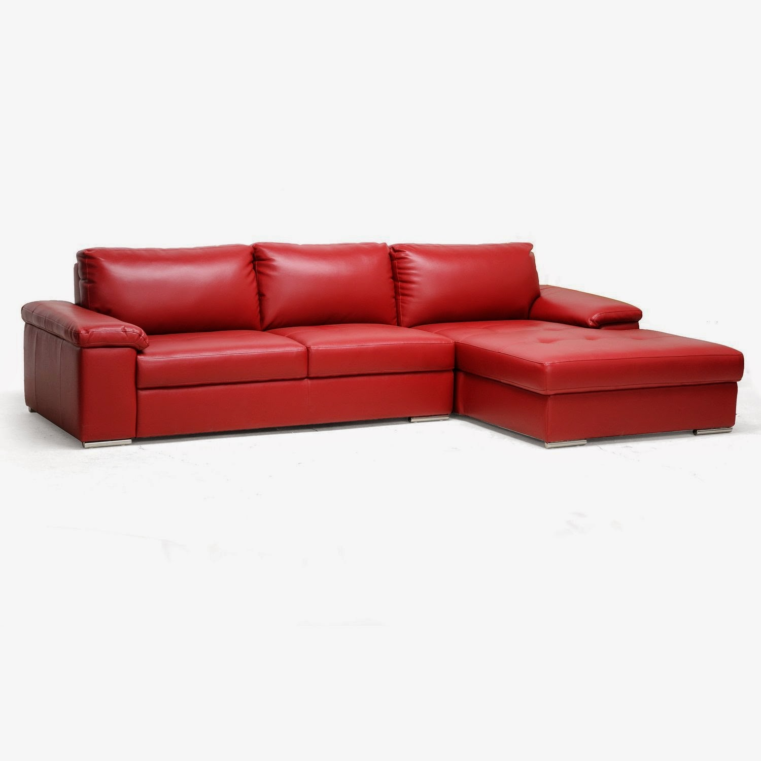 Red couch red leather sectional couch for Leather sectional sofa