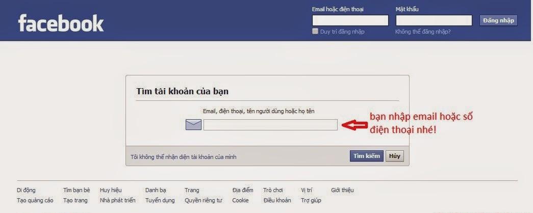 lấy lại mật khẩu facebook 3