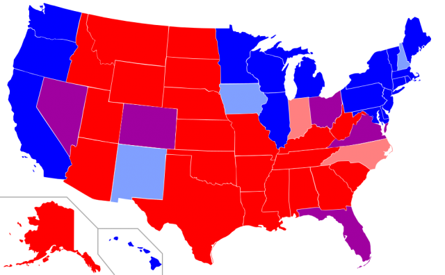 Map Of Red States And Blue States In The U S Based On Presidential Elections Since 2000 Red The Republican Candidate Carried The State In All Four Most