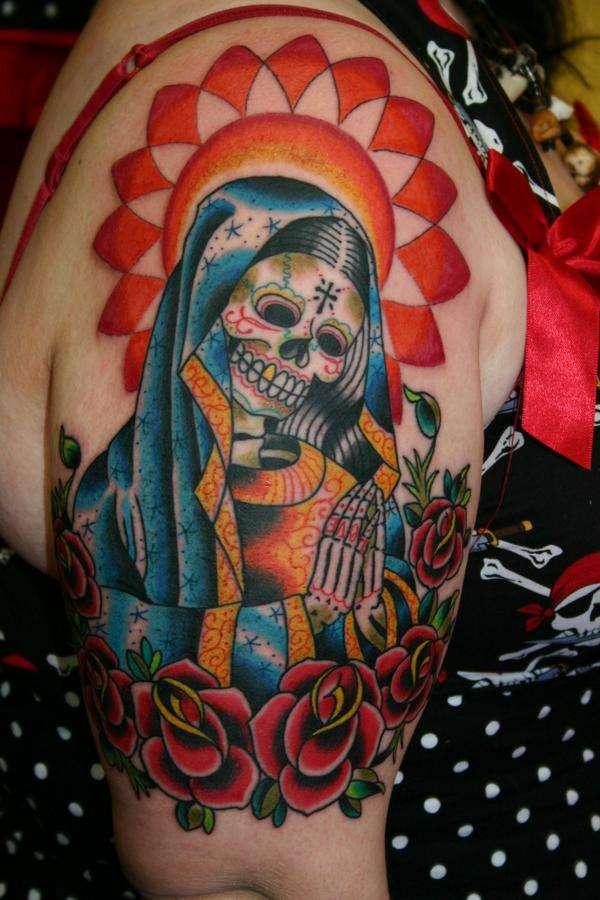 greatest tattoos designs colorful half sleeve tattoos for women. Black Bedroom Furniture Sets. Home Design Ideas