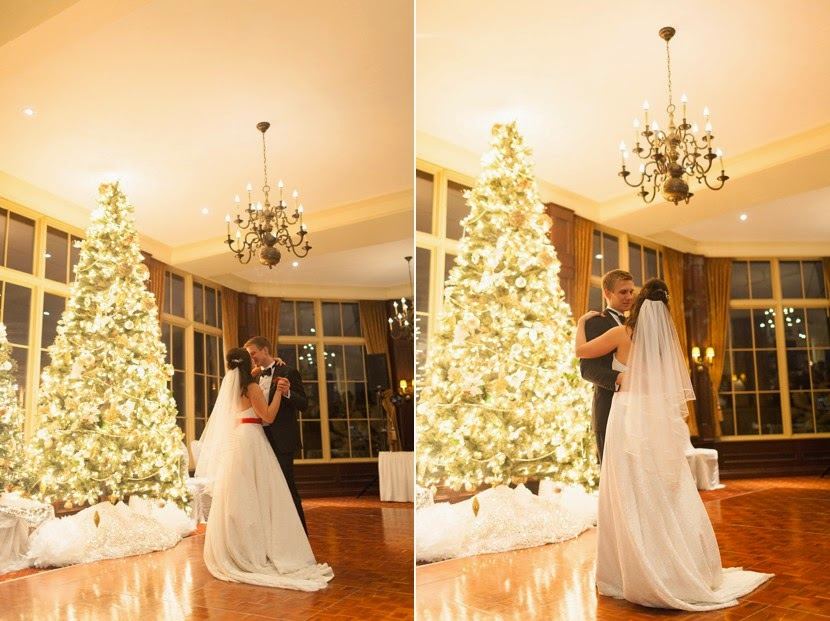 first dance in front of a christmas tree photo