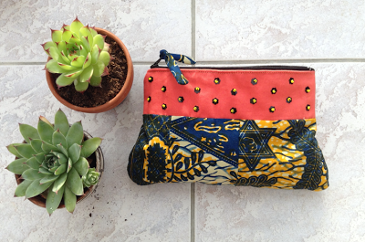 pouch made with wax cotton and beads