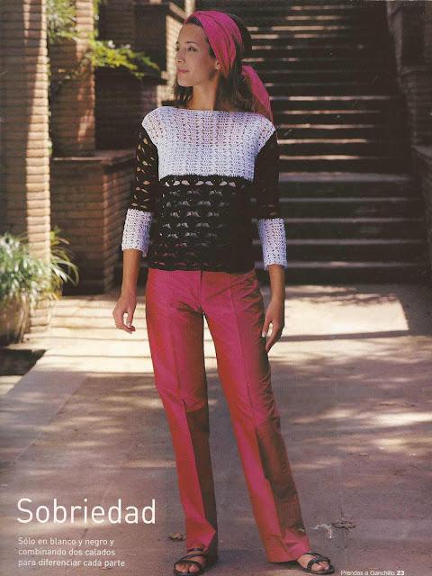 #2 Buso Blanco y Negro a Crochet