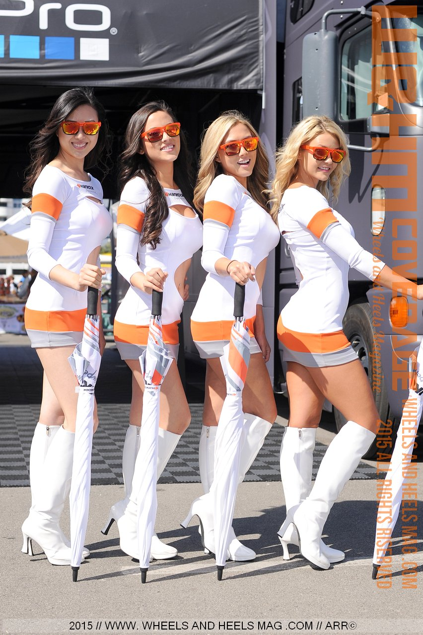 Hankook tires umbrella girls Sarah Top, Erica Nagashima, Erica Juliet, and Madison Taylor in their beautiful uniforms at 2015 Formula Drift Long Beach