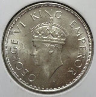 george vi one rupee 1941 obv
