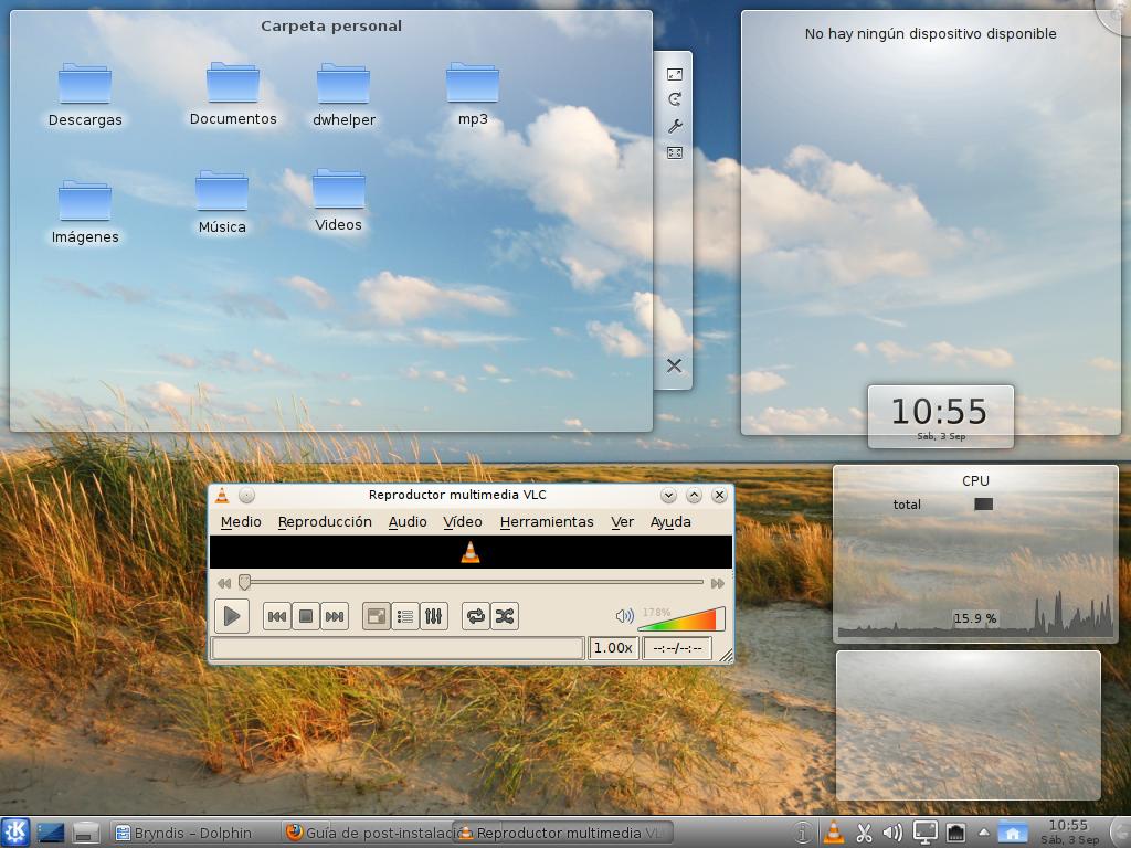 Mi humilde escritorio con Pardus 2011.1 Reproductor+VLC