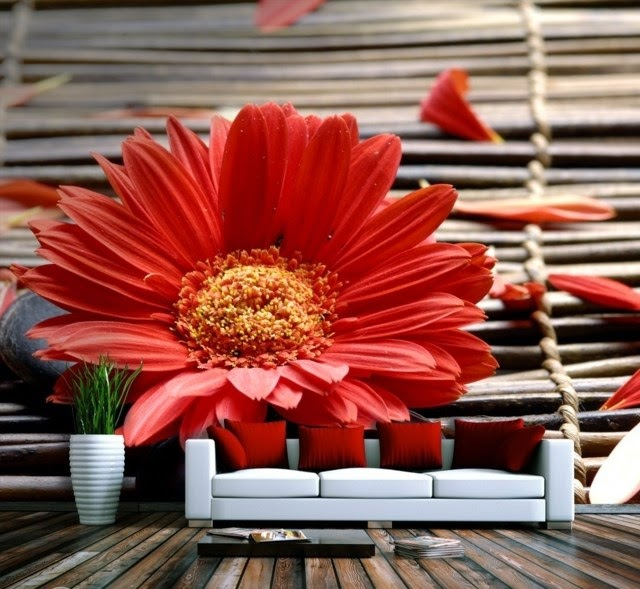 Wall Decoration Ideas With Photo Wallpaper Red Flowers