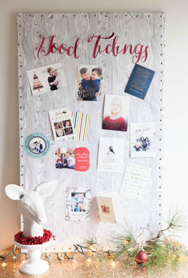 holiday card display pin board