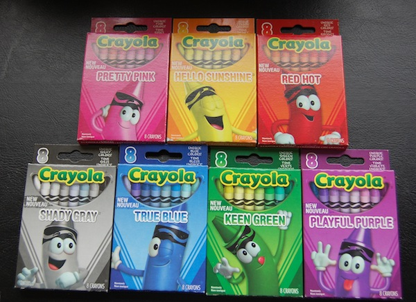 Crayola pretty pink, hello sunshine, red hot, shady gray, true blue, keen green, playful purple 8 count box of crayons