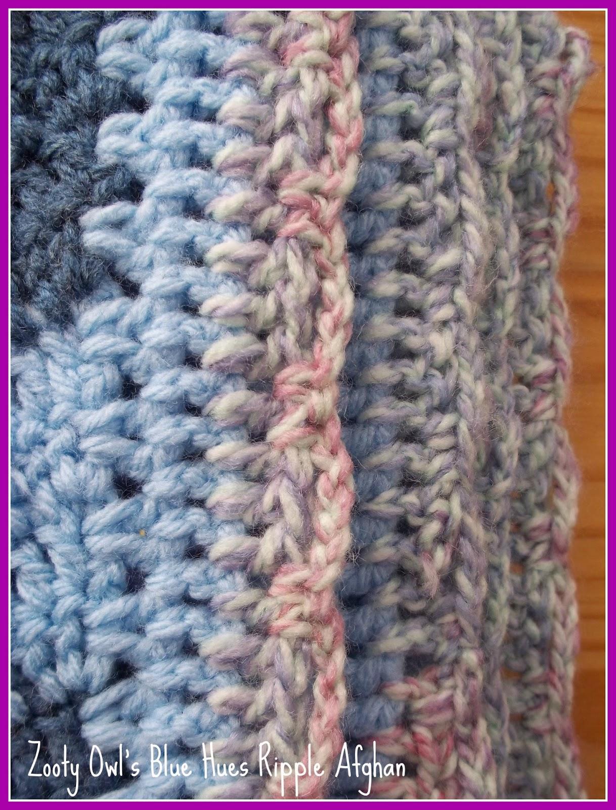 Crochet Afghan Patterns With Variegated Yarn : Zooty Owls Crafty Blog: Ripple Crochet Afghan: Blue Hues